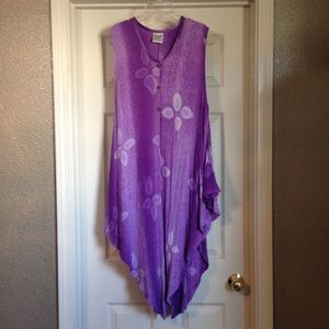 Purple floral cover-up shawl pancho wrap